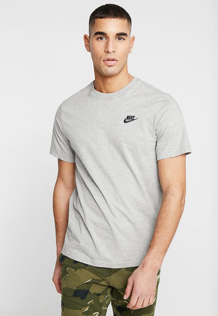 Nike Sportswear - CLUB TEE - T-Shirt basic - dark grey heather/black