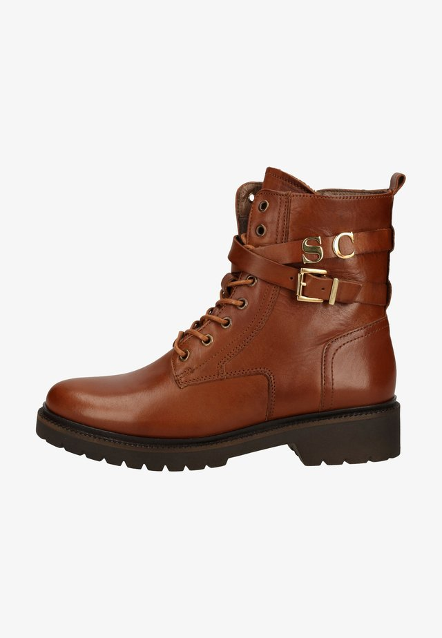 Cowboy/biker ankle boot - cuoio 530