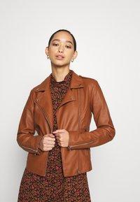 Vila - VICARA JACKET - Faux leather jacket - tortoise shell - 0