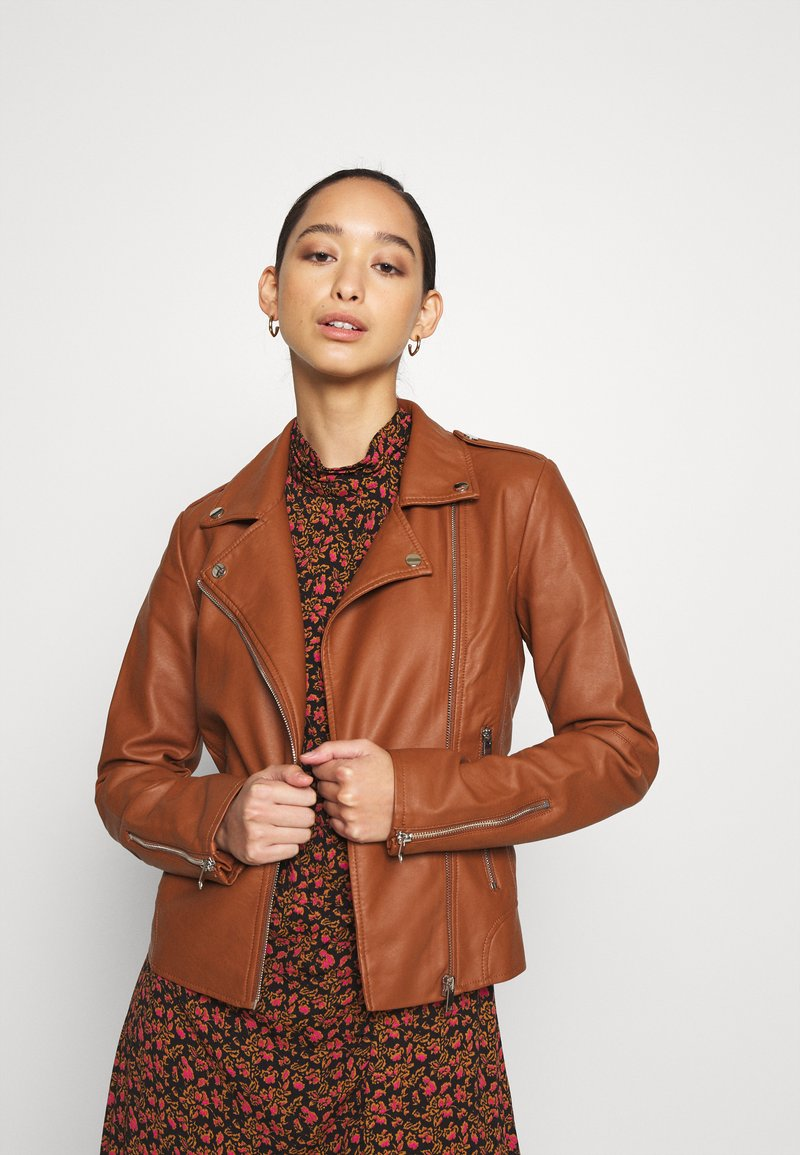 Vila - VICARA JACKET - Faux leather jacket - tortoise shell