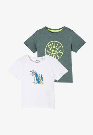 2 PACK - Print T-shirt - white/khaki
