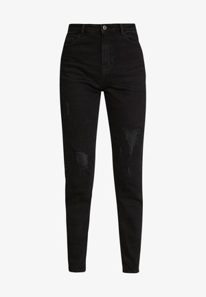 PCKESIA MOM DESTROY - Jeans Tapered Fit - black denim