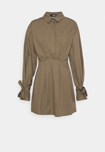 TIE CUFF BALLOON SKATER - Shirt dress - khaki