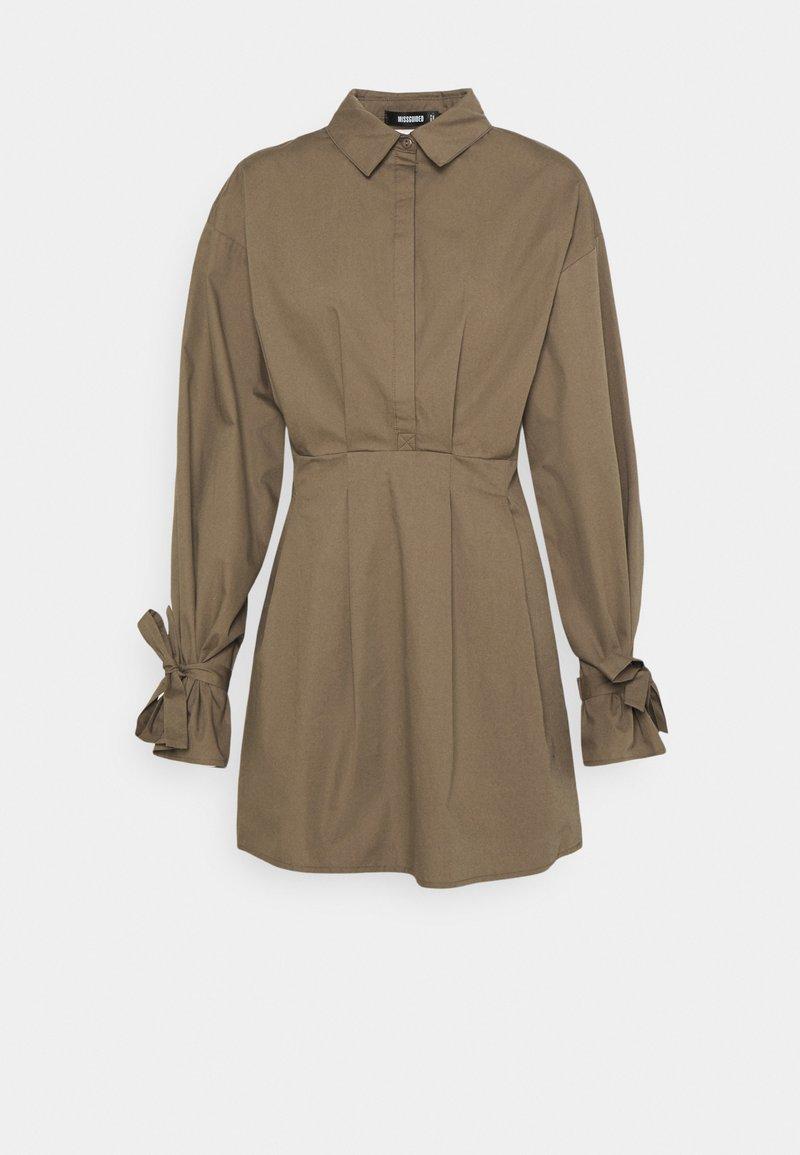 Missguided - TIE CUFF BALLOON SKATER - Shirt dress - khaki