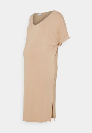 PCMNEORA FOLD UP DRESS - Jersey dress - warm taupe