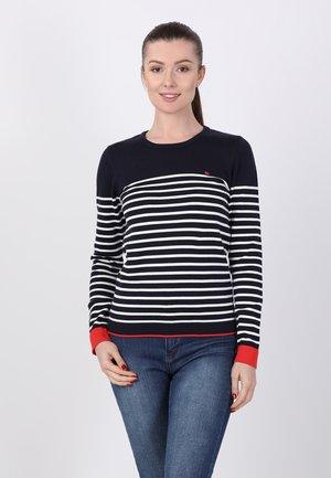 Sweatshirt - navy ecru