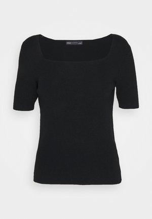 SQUARE NECK - T-shirt basique - black
