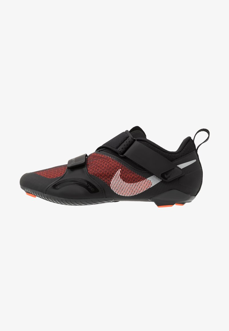 Nike Performance - SUPERREP CYCLE - Cycling shoes - black/metallic silver/hyper crimson