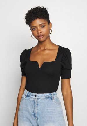 PUFF SLEEVE V DETAIL - T-shirt print - black