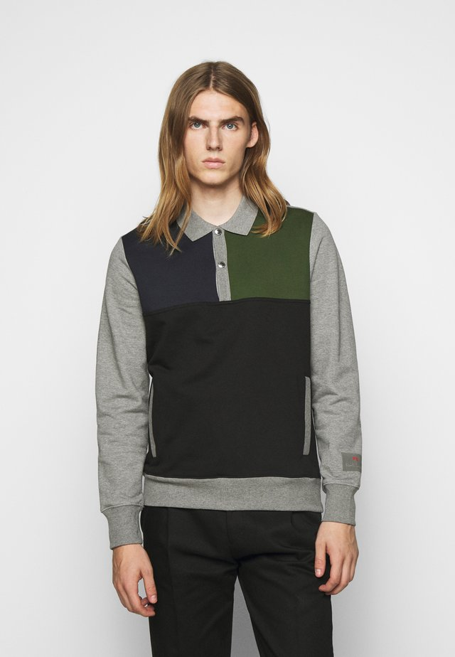 HALF PLACKET  - Felpa - grey/black/green