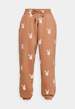 PLAYBOY JOGGERS - Tracksuit bottoms - brown