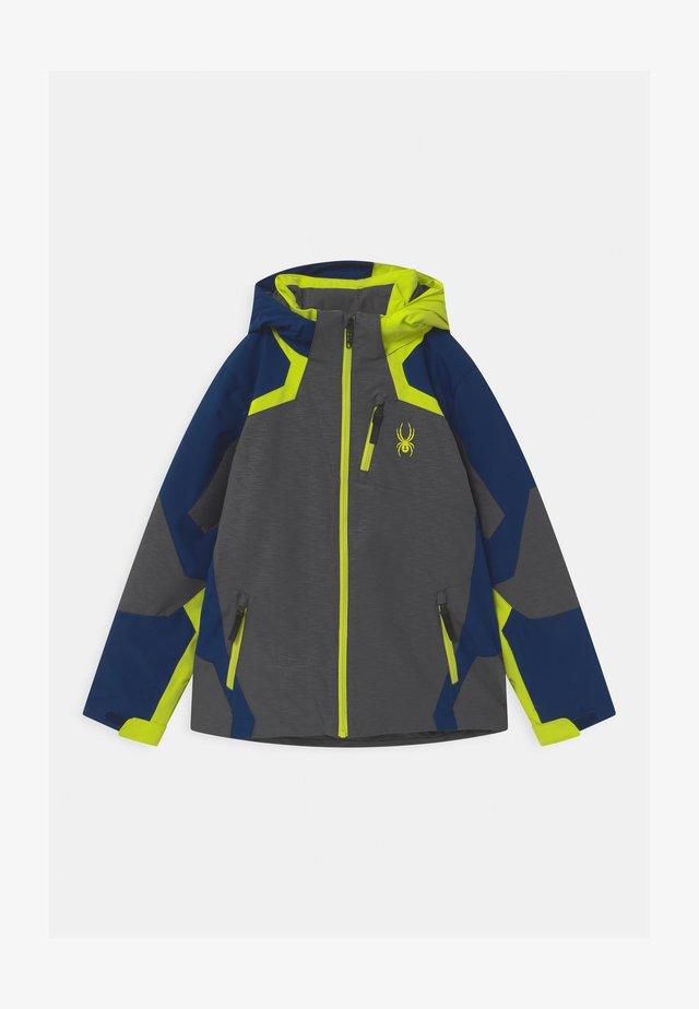 LEADER - Ski jacket - dark grey/neon green/blue