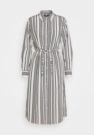 DRESS FLUENT STYLE BREAST POCKET SMALL BELT STRIPED - Shirt dress - oyster white