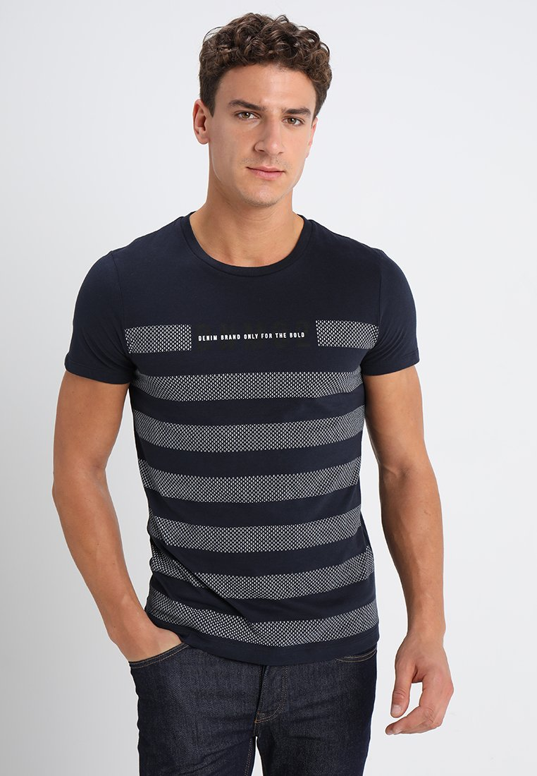 TOM TAILOR DENIM - STRIPED PANELPRINT - Print T-shirt - sky captain blue