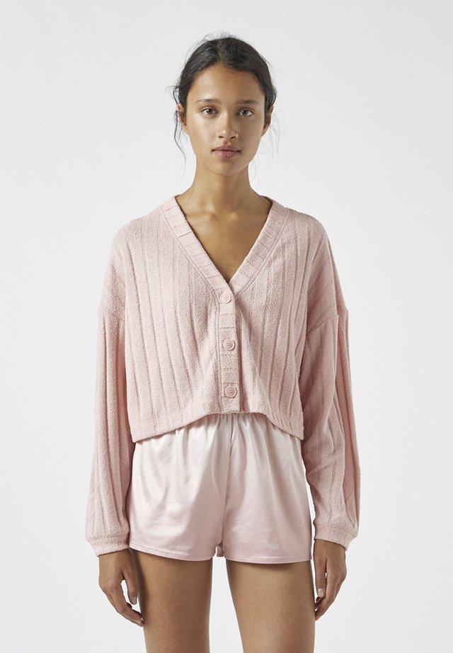 MIT AUSSCHNITTSTICKEREI - Pyjamashirt - mottled rose