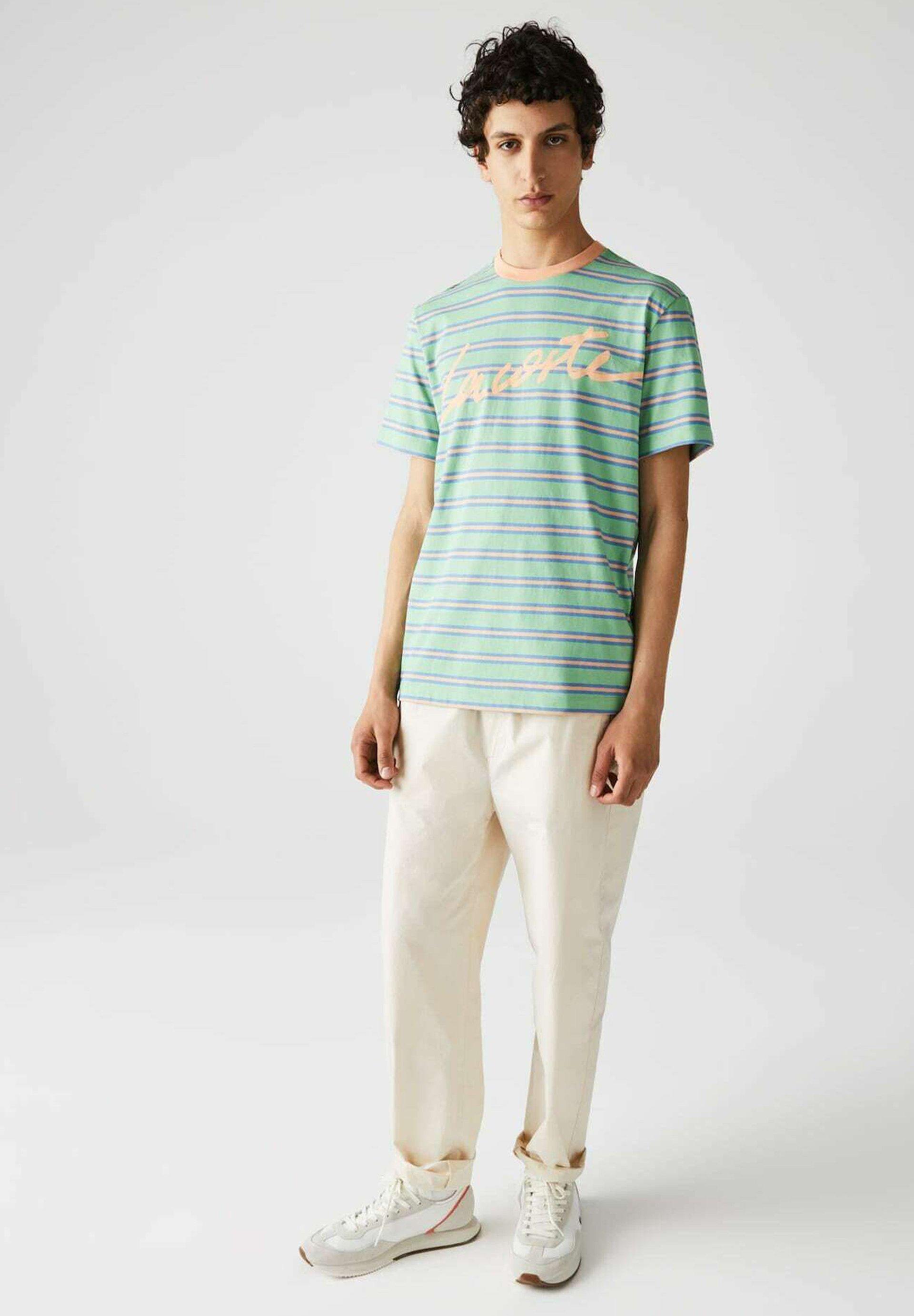 Herren T-Shirt print - grün / hell orange / blau