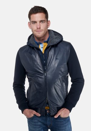 Leather jacket - blu scuro