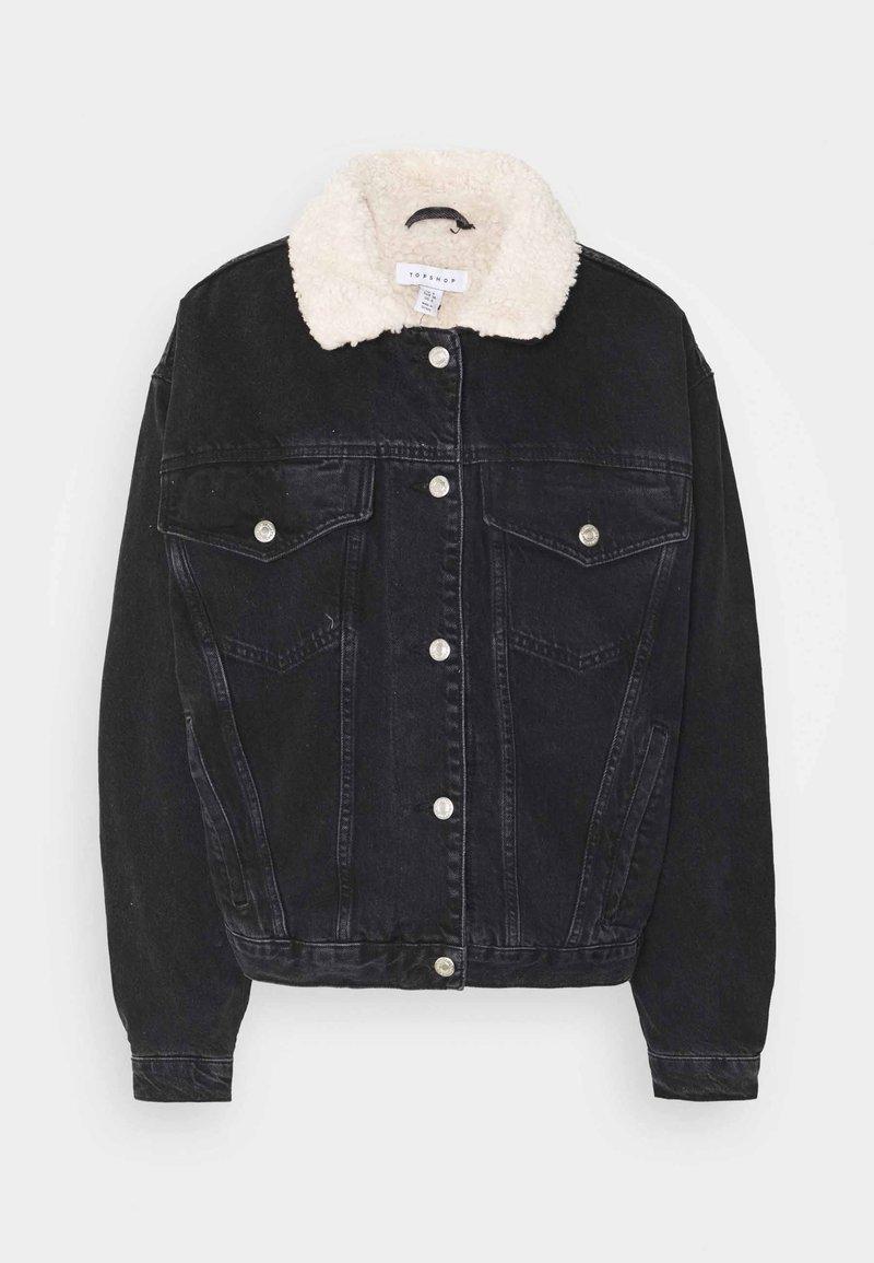 Topshop - BORG - Denim jacket - black