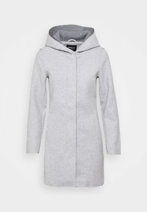 ONLSIRI BONDED HOOD COAT - Abrigo corto - light grey melange