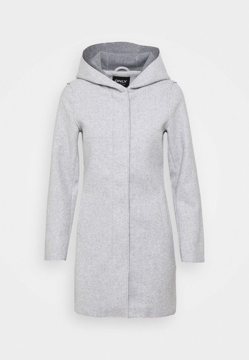 ONLY Petite - ONLSIRI BONDED HOOD COAT - Kort kappa / rock - light grey melange