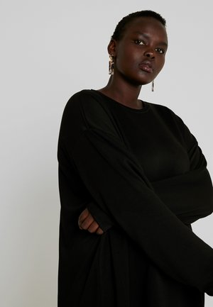 LADIES TERRY CREW DRESS - Korte jurk - black
