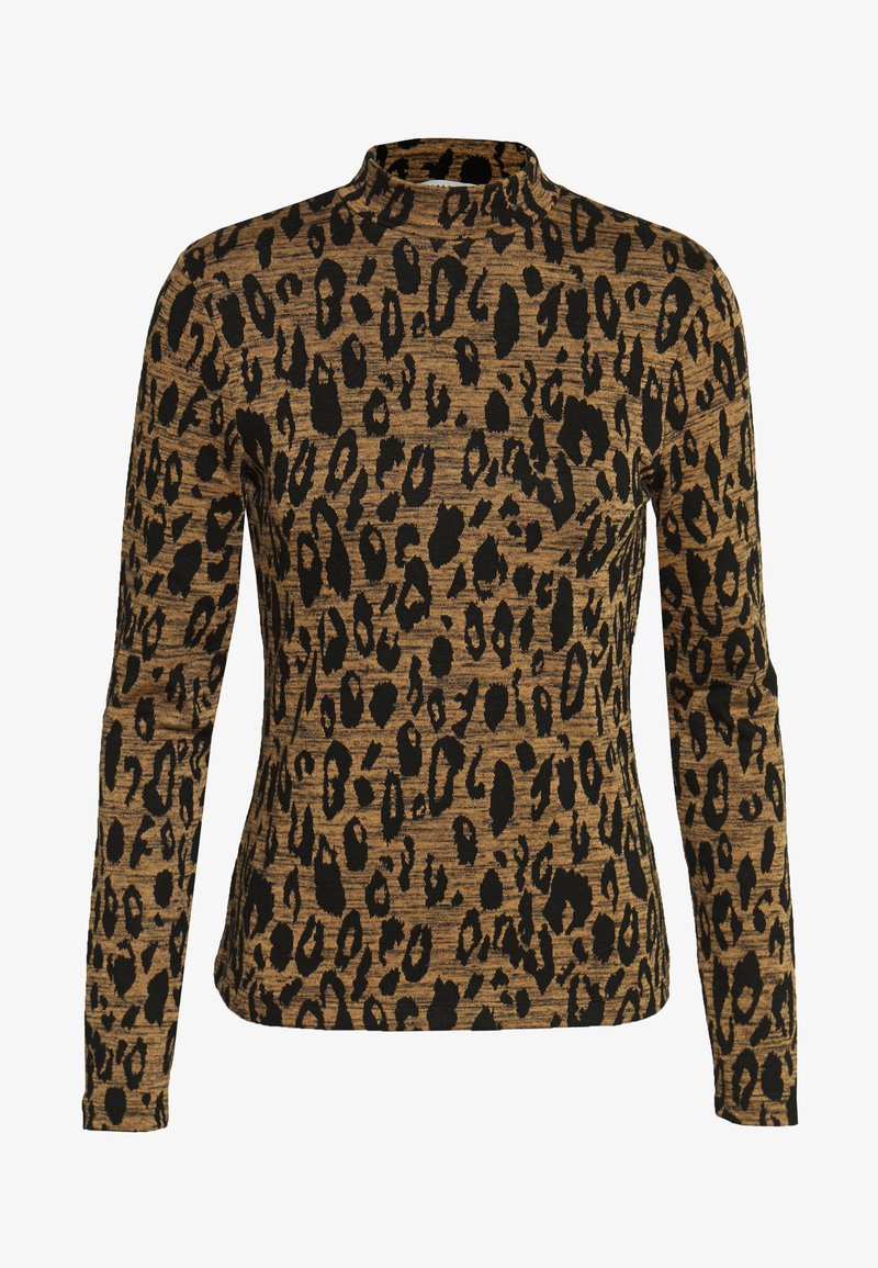Whistles - HIGH NECK ANIMAL - Top s dlouhým rukávem - black/tan