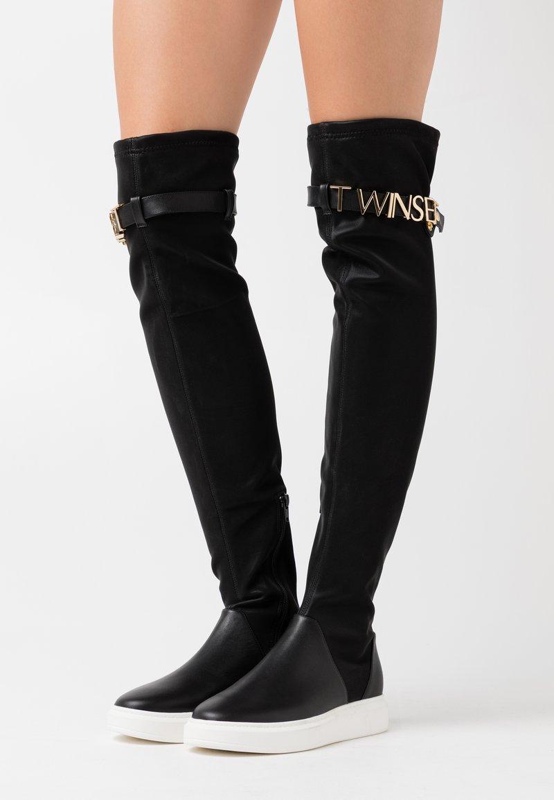 TWINSET - STIVALE ZEPPA CON LOGO LETTERING - Platform ankle boots - nero