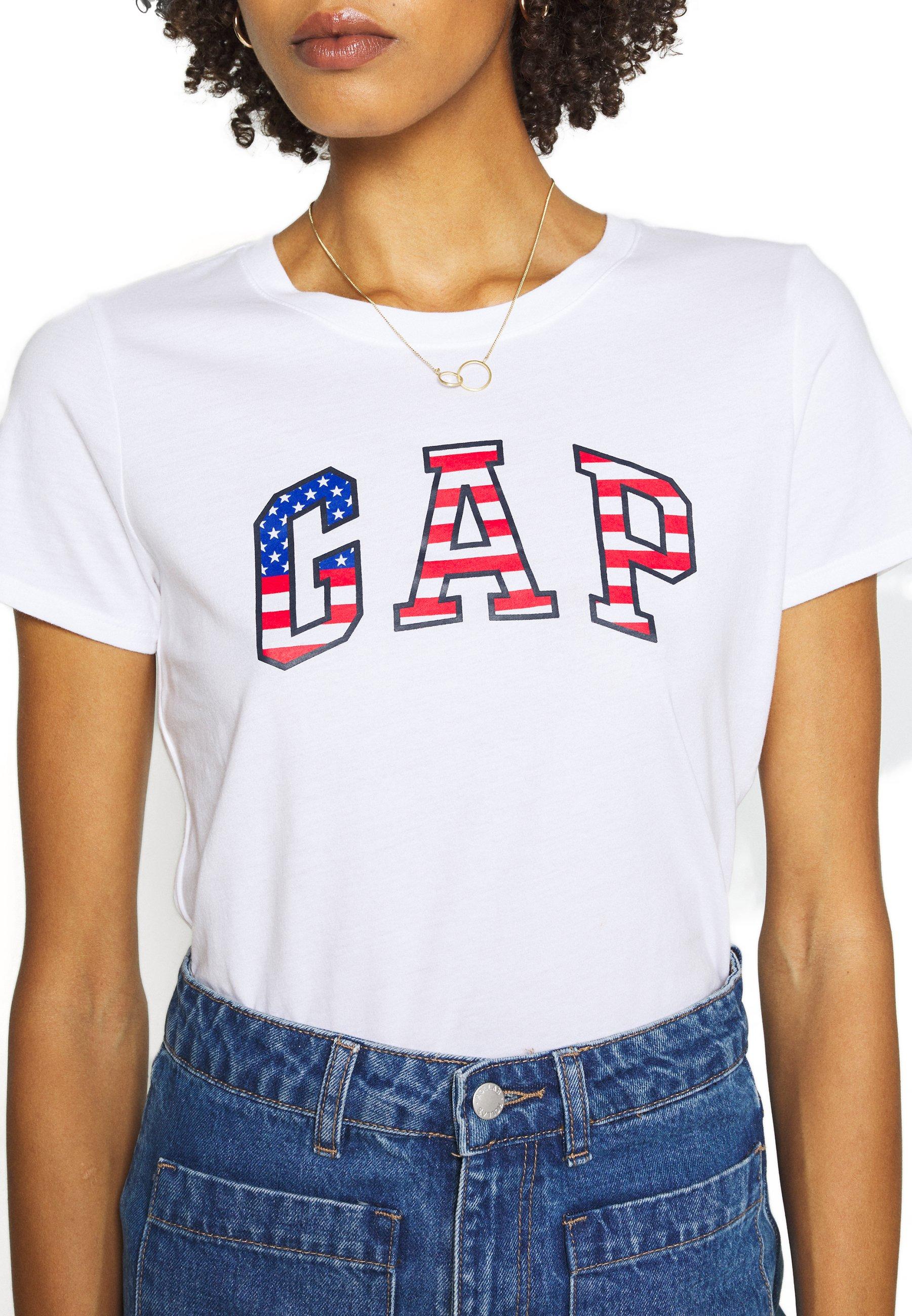 Gap Flag Tee - T-shirts Med Print White/hvit