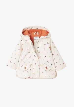 Waterproof jacket - wollweiß bedruckt/koralle