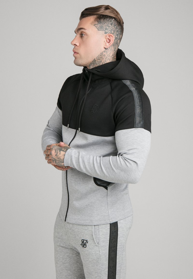 SIKSILK - SIKSILK MOTION TAPE ZIPTHROUGH - Hoodie - black/ grey