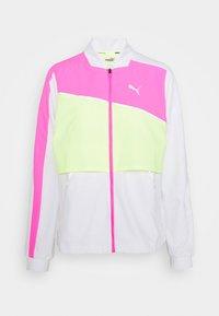 LITE WARM UP JACKET - Sports jacket - puma white/luminous pink/fizzy yellow