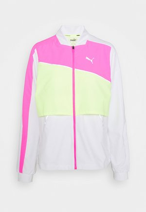 LITE WARM UP JACKET - Kurtka do biegania - puma white/luminous pink/fizzy yellow