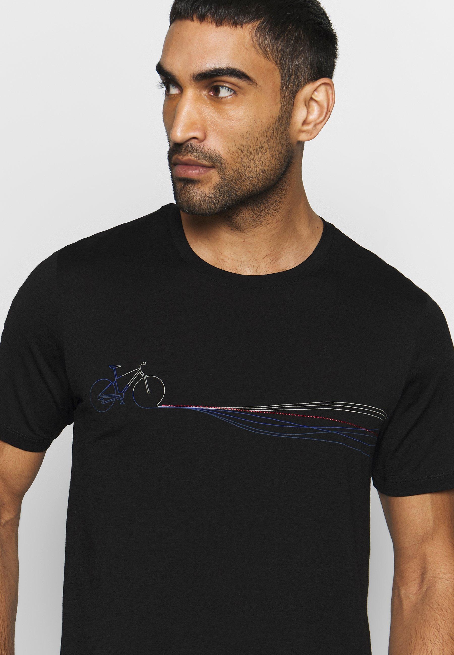 Icebreaker TECH LITE CREWE CADENCE PATHS - T-shirt imprimé - black