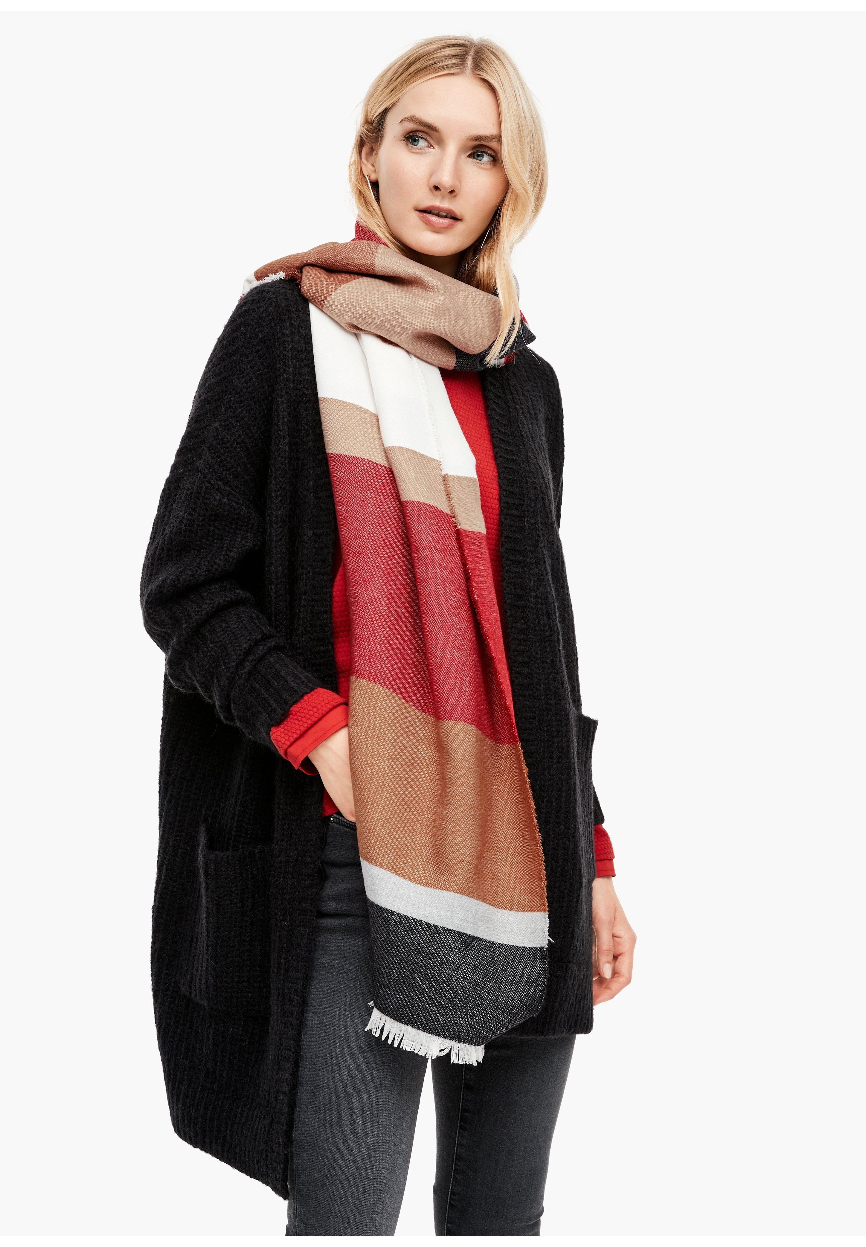 S.oliver Schal - Dark Red Stripes/dunkelrot