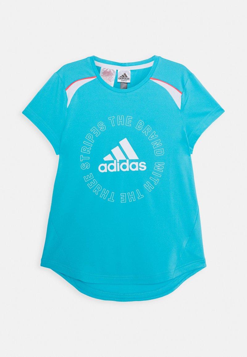 adidas Performance - BOLD TEE - T-shirt z nadrukiem - cyan/white
