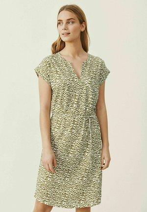 Jersey dress - olive drab mini scratch print