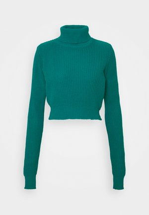 CROPPED JUMPER WITH ROLL NECK AND LONG SLEEVES - Pullover - blue jade