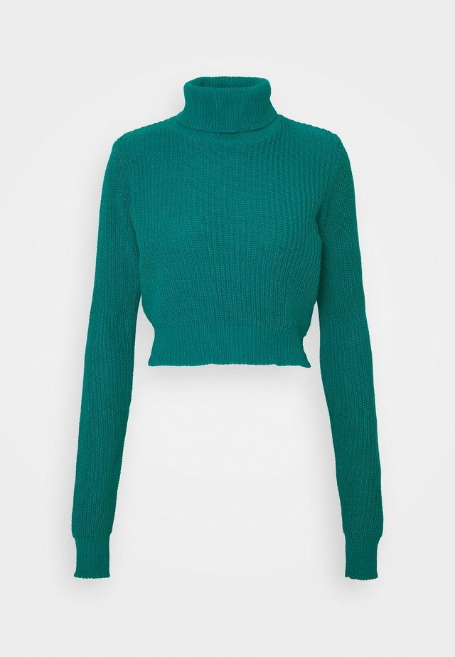 CROPPED JUMPER WITH ROLL NECK AND LONG SLEEVES - Svetr - blue jade