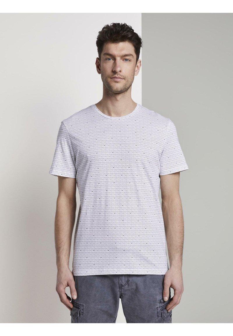 TOM TAILOR - Print T-shirt - white diamond palm tree design