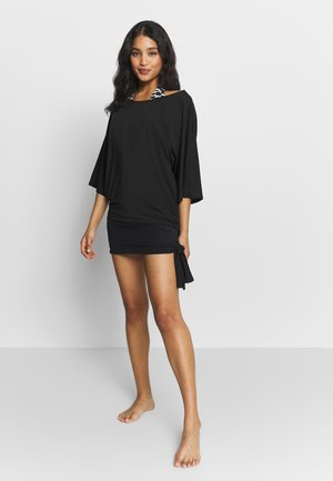 ICONIC SOLIDS SIDE TIE COVER UP - Beach accessory - black