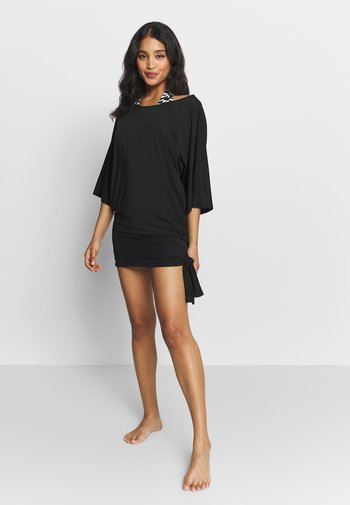 ICONIC SOLIDS SIDE TIE COVER UP - Strandaccessoire - black
