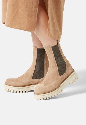 Platform ankle boots - camel