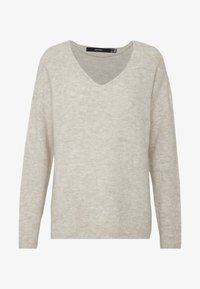 Vero Moda - VMCREWLEFILE V NECK - Strickpullover - birch - 3
