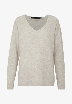 VMCREWLEFILE V NECK - Neule - birch