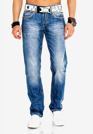 WITH BELT - Straight leg jeans - blue