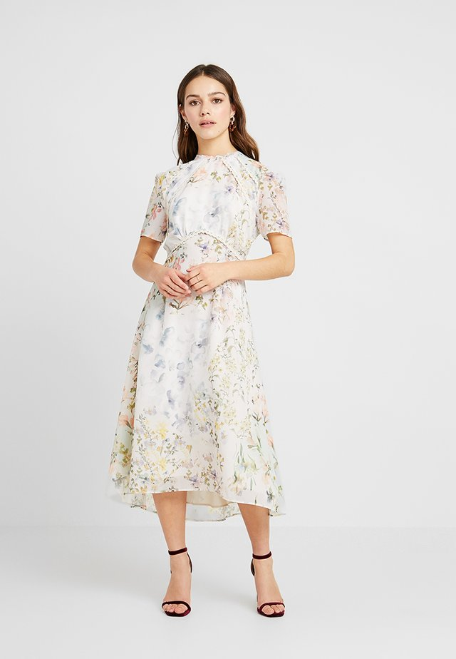 HIGH NECK FLORAL SKATER DRESS WITH OPEN BACK - Maxikjole - multi