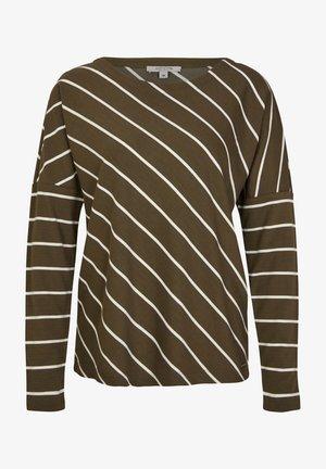 Long sleeved top - khaki diagonal stripes