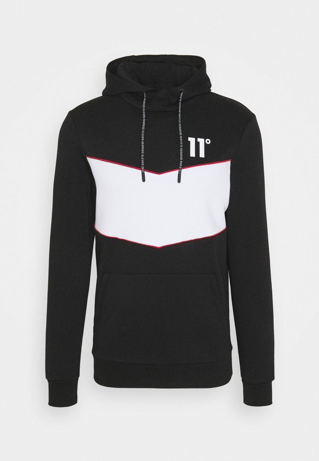 BLOCKED PIPED PULL OVER HOODIE - Hoodie - black / white / goji berry red