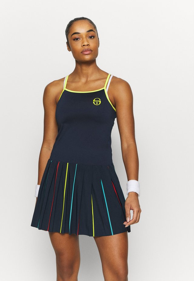 IRIS DRESS - Sports dress - navy/acid lime