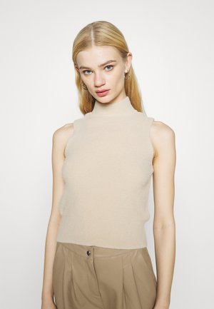 SLEEVELESS FLUFFY FUNNEL - Jumper - beige